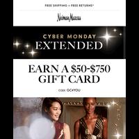 Ends tomorrow: $50-$750 gift card + free beauty treats