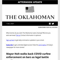 OKC mayor walks back curfew enforcement; COVID-19 takes life of prominent preservation leader; Bob Stoops returns to OU football practice and more