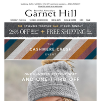 Cyber Monday Ends TONIGHT: 33% Off Cashmere, 25% Off Sitewide + FREE SHIPPING