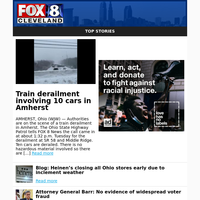 Train derailment involving 10 cars in Amherst