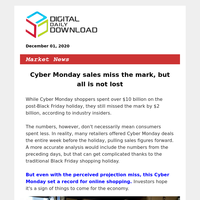 December 01 | Cyber Monday sales miss the mark, but all is not lost