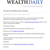 The Most Profitable Day in History