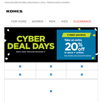 Don't miss today's CYBER DEALS + take an extra 20% off!