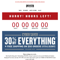 Ends Midnight! 30% OFF Any Order - Cyber Savers!