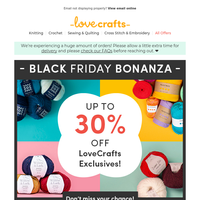 The Black Friday Bonanza isn't over! Up to 30% off Paintbox, Debbie Bliss + MORE!
