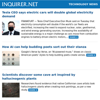 Technology News: Tesla CEO says electric cars will double global electricity demand; How AI can help budding poets sort out their stanza; Scientists discover some cave art inspired by hallucinogenic plants
