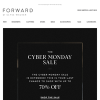 NOW EXTENDED -- CYBER MONDAY Up to 70% off!