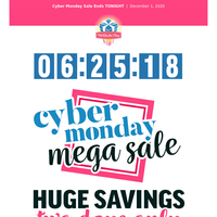 Our Cyber Monday Mega Sale ends TONIGHT!