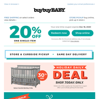 Your 20% coupon is enclosed. Cute baby snoozefest ahead! 💤 30% OFF Sorelle Berkley Cribs + Cyber Week deals in-store & online