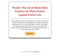 {EMAIL}, The Great Khali Joins Farmers In Their Protest Against