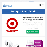 Extra 10% off Target coupon | Apple AirPods Pro for $190 | 60% off Banana Republic Factory Cyber Monday Sale
