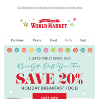 Save 20% on Christmas Breakfast essentials