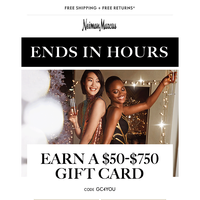 Final hours for $50-$750 gift card + FREE beauty gift