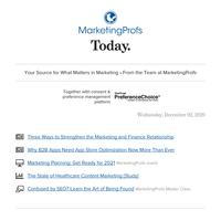 The Marketing-Finance relationship | B2B app store optimization | Healthcare content marketing | SEO master class | Marketing planning