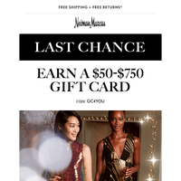 Last chance: Get your gift card + Free beauty gifts