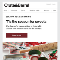 20% off holiday baking + a sweet recipe