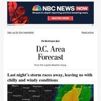 Today's forecast: Last night's storm races away, leaving us with chilly and windy conditions