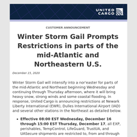 Winter Storm Gail Prompts Restrictions in parts of the mid-Atlantic and Northeastern U.S.