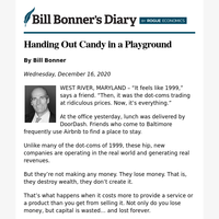 Handing out candy in a playground