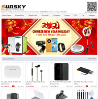 2021 Chinese New Year Holiday Notice from SUNSKY
