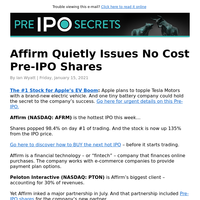 Affirm Quietly Issues No Cost Pre-IPO Shares