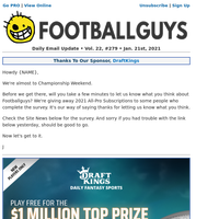 News & Notes Plus Win A Chance For Free 2021 Footballguys All-Pro Subscriptions