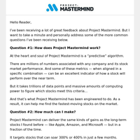 Answers to your most common questions about Project Mastermind