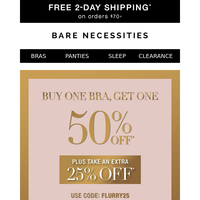 Weekend's Here, So Is BOGO 50% Off Bras + Extra 25% Off