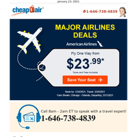 Major Airlines Deals: Fly from $23.99