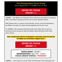 (Confirmation Needed): {NAME}'s Post-Inauguration focus group