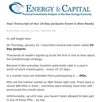 Your Transcript of Our 10-Day Jackpots Event Is Now Ready