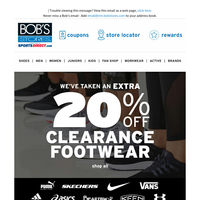 👞 Take an Extra 20% OFF Clearance Footwear 👟