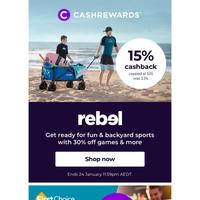 Soak up the Aussie summer ☀️ 15% cashback at Rebel