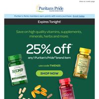Your coupon for 25% off expires today