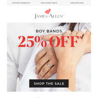 Hey Handsome. 25% Off Men's Wedding Rings!