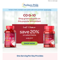 Ends today! Extra 20% OFF Co Q-10