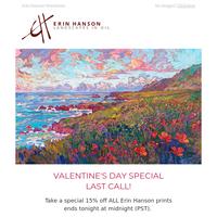 Valentine's Day - 15% Off Erin Hanson Prints Ends Tonight!