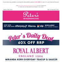 60% off RRP - From $19 Royal Albert Miranda Kerr Everyday Teaware