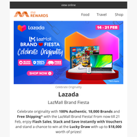 {NAME}, LazMall Brand Fiesta, Celebrate Originality! Offers on Fashion, Food, Beauty, Electronics & more!
