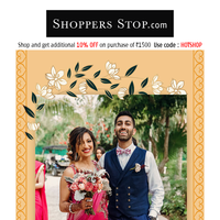 Get a noteworthy wedding look - Shop the wedding range at upto 50% OFF!