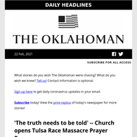 'The truth needs to be told' -- Church opens Tulsa Race Massacre Prayer Room; Is climate change to blame for Oklahoma's severe winter storm? The answer is complicated; and more