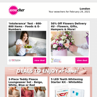 600-Item 'Intolerance' Test £19   50% Flowers Delivery 4U Discount £3   Cranes Pub In A Box £17.99   Mother's Day Luxury Chocolate Selection £6.50   Interior Design Online Course £9