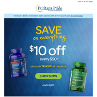 $10 off | Save on every $50