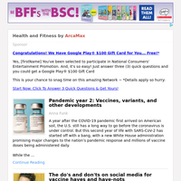 Health and Fitness for Friday February 26, 2021