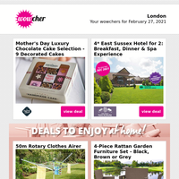 Mother's Day Luxury Chocolate Selection £6.50   4* East Sussex Spa Hotel & Dinner for 2   Grow Your Own Herbs Kit £9.99   3-Lap Sports Car Driving Experience £19   Boxtails Cocktails Voucher Spend £10