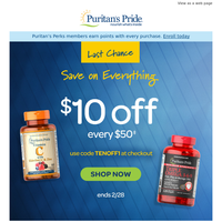 ENDING— Extra $10 OFF