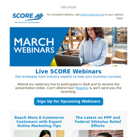 March Webinars: Ask the CPA, The Latest on PPP, Online Marketing Tips, More...