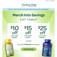 Final Hours>> Save $10, $15 or $25