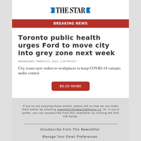 Toronto public health urges Ford to move city into grey zone next week
