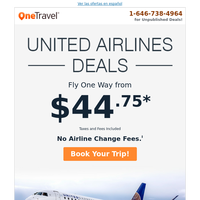 Cheap United Airlines Deals! | Flights from $44.75